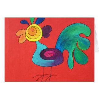 Gallo del arco iris tarjeta de felicitación
