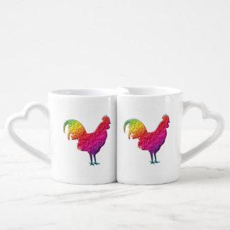 Gallo del arco iris taza para enamorados
