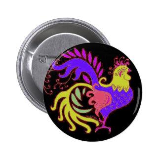 Gallo del art déco en púrpura en negro pin redondo de 2 pulgadas