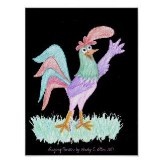Gallo del canto en negro de Wendy C. Allen Impresiones