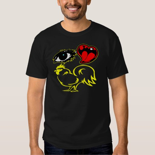 Gallo del corazón del ojo playera