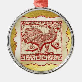 Gallo del efecto del sello en el marco, mirada adorno navideño redondo de metal