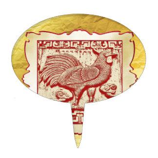 Gallo del efecto del sello en el marco, mirada figuras de tarta