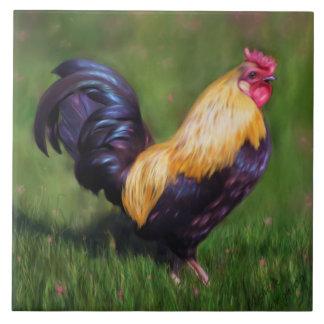 Gallo del gallo de Estuardo del arte del pollo Azulejo Cuadrado Grande