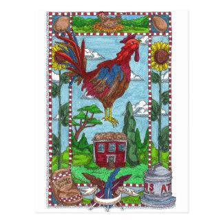 Gallo del girasol postal