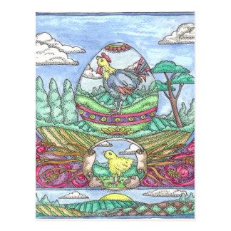 Gallo del huevo de Pascua Postal