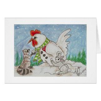 Gallo del muñeco de nieve, mapache y amigos del tarjeta de felicitación