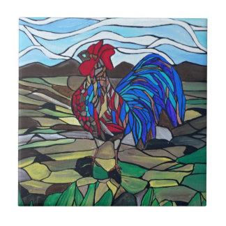 Gallo del país azulejo cuadrado pequeño
