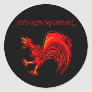 Gallo del rojo de Lil Pegatina Redonda