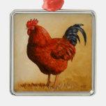 Gallo del rojo de Rhode Island Adorno De Navidad