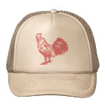Gallo del rojo del estilo de la prensa de copiar gorras de camionero
