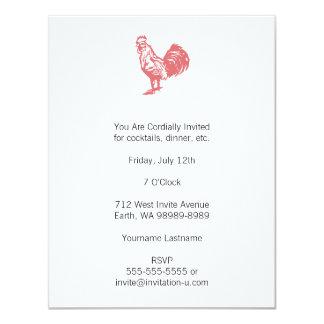 Gallo del rojo del estilo de la prensa de copiar invitación personalizada
