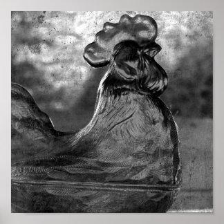 Gallo del vintage en cosecha cuadrada blanco y neg poster