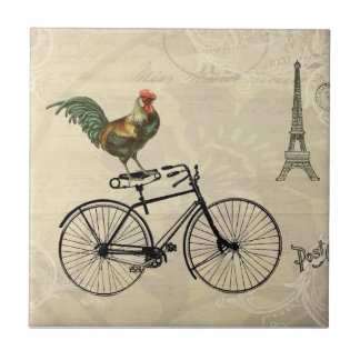 Gallo del vintage que monta una bici por la torre  azulejo cuadrado pequeño