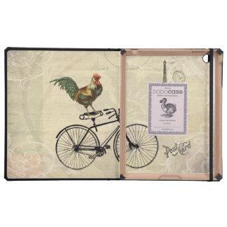 Gallo del vintage que monta una bici por la torre  iPad cárcasa