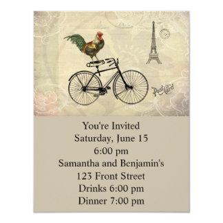 """Gallo del vintage que monta una bici por la torre invitación 4.25"""" x 5.5"""""""