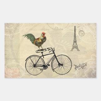 Gallo del vintage que monta una bici por la torre rectangular pegatinas