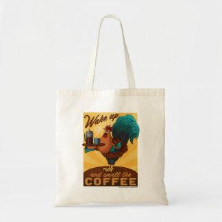 Gallo - despierte y huela el café bolsa tela barata