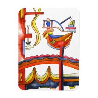 Gallo dominado por la mujer - arte abstracto iman de vinilo