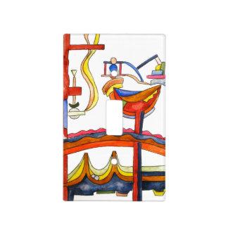 Gallo dominado por la mujer - arte abstracto pinta placas para interruptor
