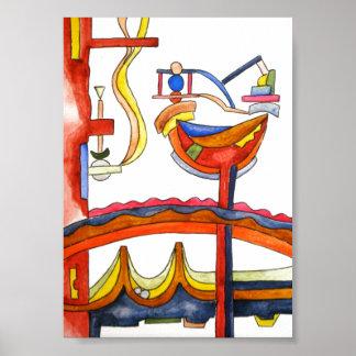 Gallo dominado por la mujer - arte abstracto póster
