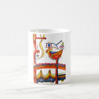 Gallo dominado por la mujer - arte abstracto taza