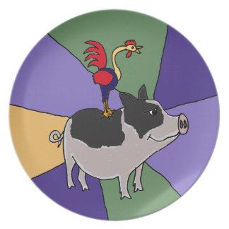 Gallo en arte popular colorido del cerdo platos para fiestas