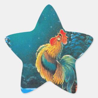 gallo en el amanecer calcomanía cuadrada