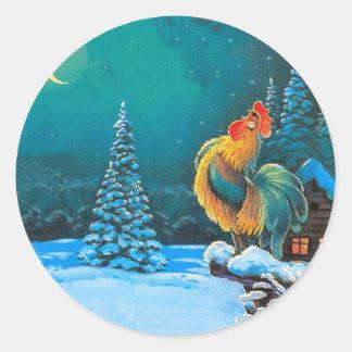 gallo en el amanecer pegatina redonda