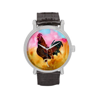 Gallo en el funcionamiento relojes