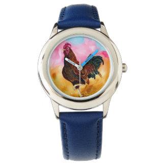 Gallo en el funcionamiento reloj de mano