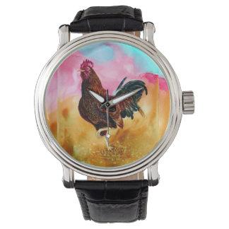 Gallo en el funcionamiento relojes de pulsera