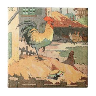 Gallo en la granja azulejo cuadrado pequeño