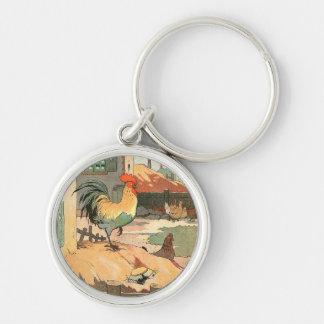 Gallo en la granja llavero personalizado