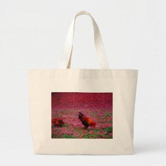 Gallo en la hierba púrpura bolsa tela grande