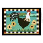 Gallo en la tarjeta de las flores