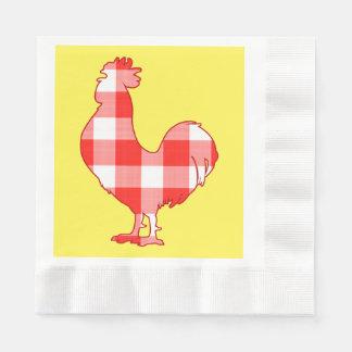 Gallo en rojo servilletas desechables