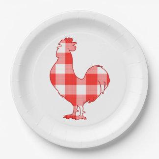 Gallo en silueta platos de papel