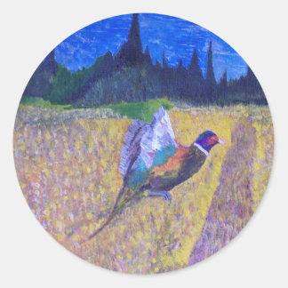 Gallo en The Field Pegatina Redonda