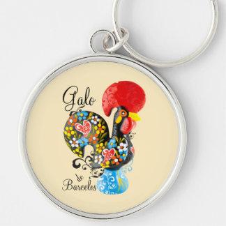 Gallo famoso de Barcelos #06 - edición floral Llavero Redondo Plateado