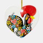 Gallo famoso de Barcelos Nr 06 - edición floral Adorno Navideño De Cerámica En Forma De Corazón