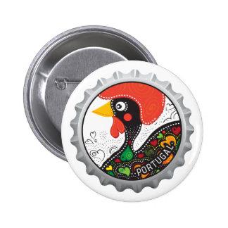 Gallo famoso de Portugal Nr 02 Pin Redondo De 2 Pulgadas