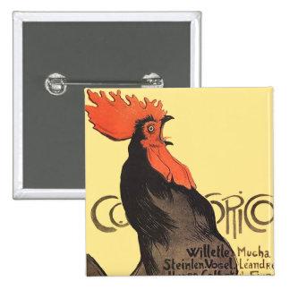 Gallo francés Cocorico por el poster del arte de S Pin Cuadrada 5 Cm