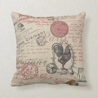 Gallo francés de París de la escritura del vintage Cojín Decorativo