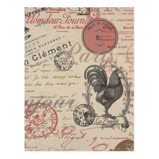 Gallo francés de París de la escritura del vintage Postales