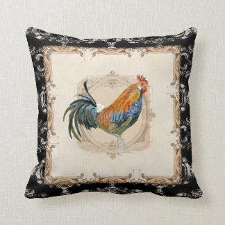 Gallo francés del blanco del negro n del damasco cojín
