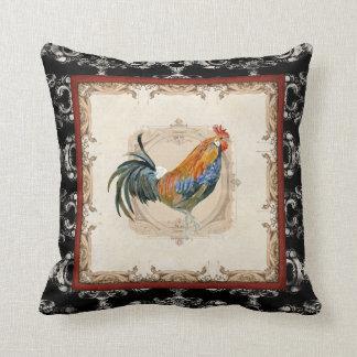 Gallo francés del blanco del negro n del damasco cojín decorativo
