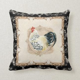 Gallo francés del blanco del negro n del damasco d almohadas