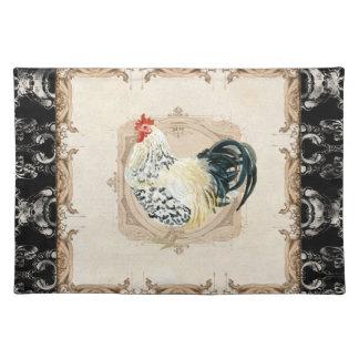Gallo francés del blanco del negro n del damasco d mantel