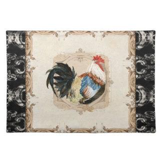 Gallo francés del blanco del negro n del damasco d manteles individuales
